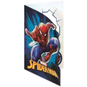 Pókember csillámos üdvözlőkártya+boríték