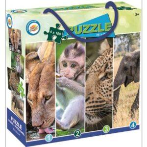 Állatos puzzle 4×100 db-os