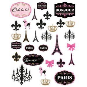 A Day In Paris papír dekoráció 30 db-os szett