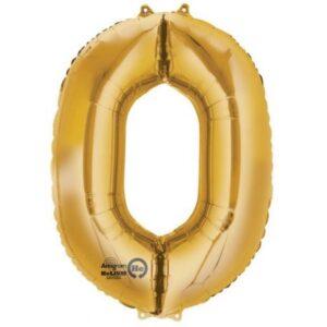 Gold, Arany óriás 0-ás szám fólia lufi 88*63 cm