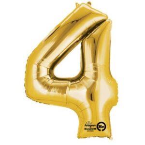 Gold, Arany óriás 4-es szám fólia lufi 91*60 cm