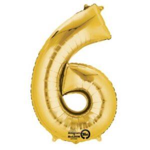 Gold, Arany óriás 6-os szám fólia lufi 86*55 cm