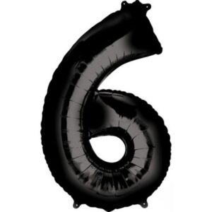 Black óriás szám fólia lufi 6-os, 86*55 cm