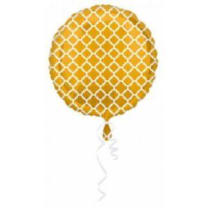 Arany Fólia lufi Fehér díszítéssel 43 cm