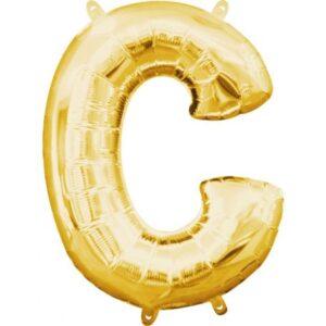Gold, Arany mini C betű fólia lufi 33 cm