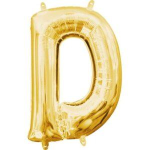 Gold, Arany mini D betű fólia lufi 33 cm