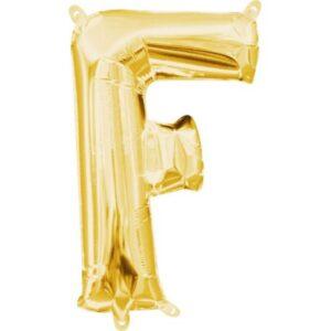 Gold, Arany mini F betű fólia lufi 33 cm