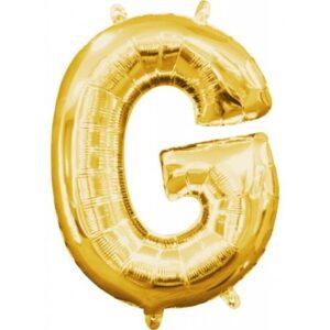 Gold, Arany mini G betű fólia lufi 33 cm