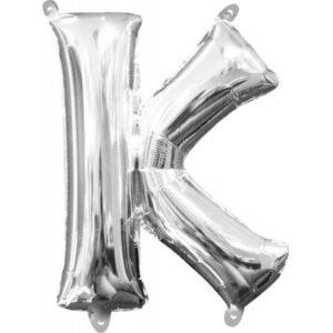 Mini K betű Fólia lufi, Silver 33 cm