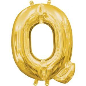 Gold, Arany mini Q betű fólia lufi 33 cm
