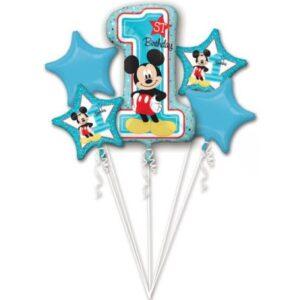 Disney Mickey Első születésnap fólia lufi 5 db-os szett