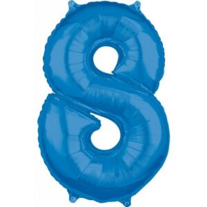 Blue szám fólia lufi 8-as, 66*45 cm