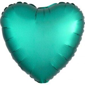 Szatén Jade szív fólia lufi 43 cm