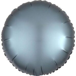 Szatén Steel Blue kör fólia lufi 43 cm