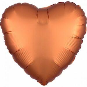 Szatén Amber szív fólia lufi 43 cm