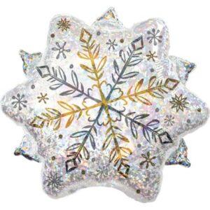 Holographic Snowflake, Hópehely Fólia lufi 45 cm