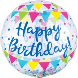 Confetti Happy Birthday Gömb Fólia lufi