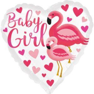 Flamingo Baby Girl fólia lufi 43 cm