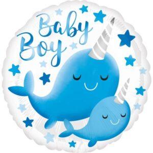 Narvál Baby Boy fólia lufi 43 cm