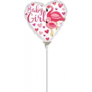 Flamingo Baby Girl fólia lufi 23 cm