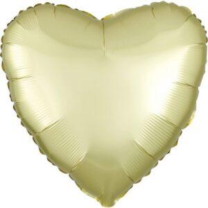 Szatén Pastel Yellow szív fólia lufi 43 cm