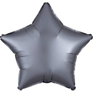 Szatén Graphite csillag fólia lufi 43 cm