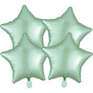 Szatén Mint Green csillag fólia lufi 48 cm 4 db-os szett