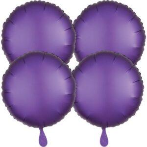Szatén Purple kör fólia lufi 48 cm 4 db-os szett