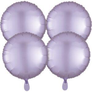 Szatén Pastel Lilac kör fólia lufi 48 cm 4 db-os szett