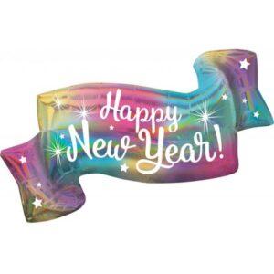 Hologrammos Happy New Year Fólia lufi 99 cm