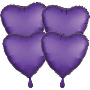 Szatén Purple szív fólia lufi 48 cm 4 db-os szett