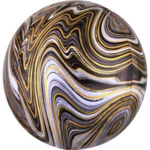 Colorful, Black gömb fólia lufi 40 cm