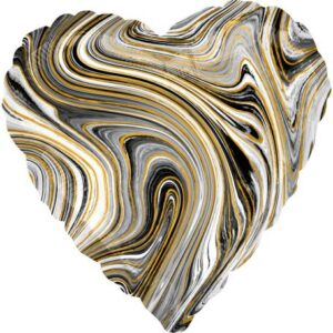 Fekete Szív Fólia lufi 43 cm