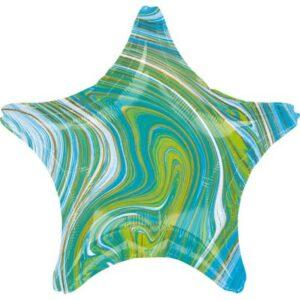 Kék, Zöld Csillag Fólia lufi 48 cm