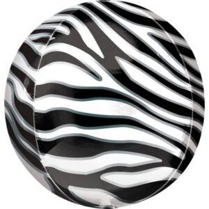 Zebra mintás Gömb fólia lufi 40 cm