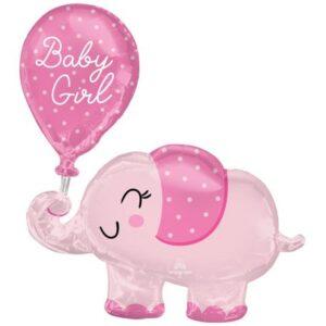 Baby Girl elefánt fólia lufi 78 cm