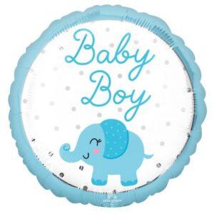 Baby Boy elefánt fólia lufi 43 cm