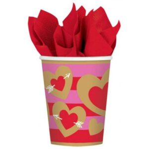 Heart, Szív papír pohár 8 db-os 266 ml