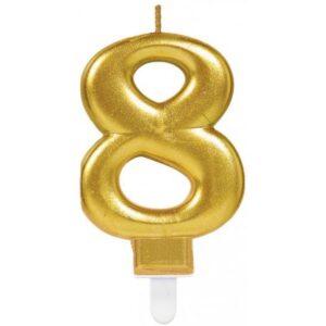 Gold, Arany számgyertya 8-as tortagyertya