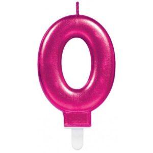 Pink számgyertya 0-ás tortagyertya