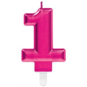 Pink számgyertya 1-es tortagyertya