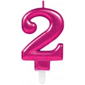 Pink számgyertya 2-es tortagyertya