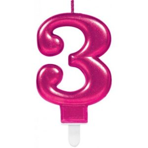 Pink számgyertya 3-as tortagyertya