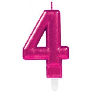 Számgyertya 4-es, Pink tortagyertya