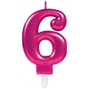 Pink számgyertya 6-os tortagyertya