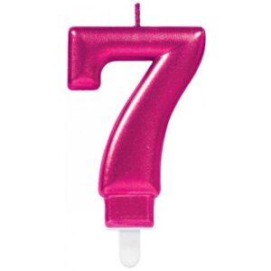 Pink számgyertya 7-es tortagyertya