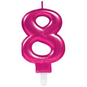 Pink számgyertya 8-as tortagyertya
