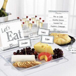 25. Anniversary, Házassági évforduló díszítő pálca és étel kártya 12 db-os