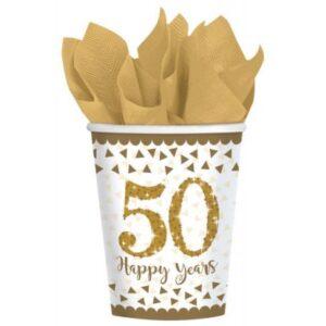 50. Anniversary, Házassági évforduló papír pohár 8 db-os 266 ml