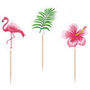 Flamingó koktél díszítő pálca 20 db-os